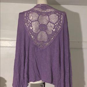 Purple open cardigan